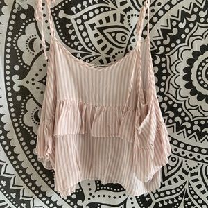 Striped Pink American Eagle off the Shoulders Top